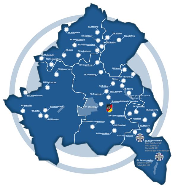 Karte Oberbayern.Oberbayern Südost Reservistenverband